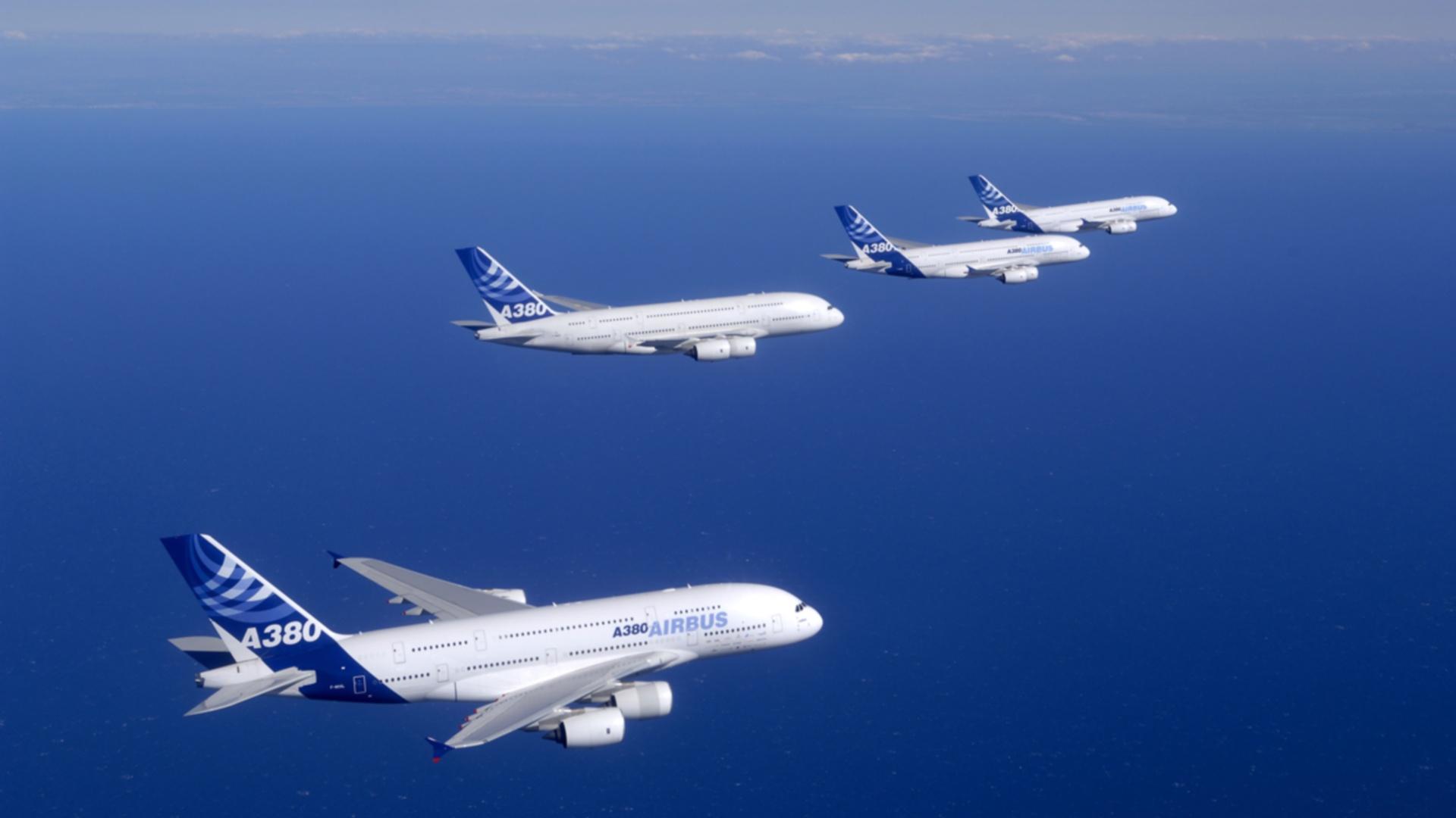 Обои 380, А-380, Самолёт, аэробус. Авиация foto 16