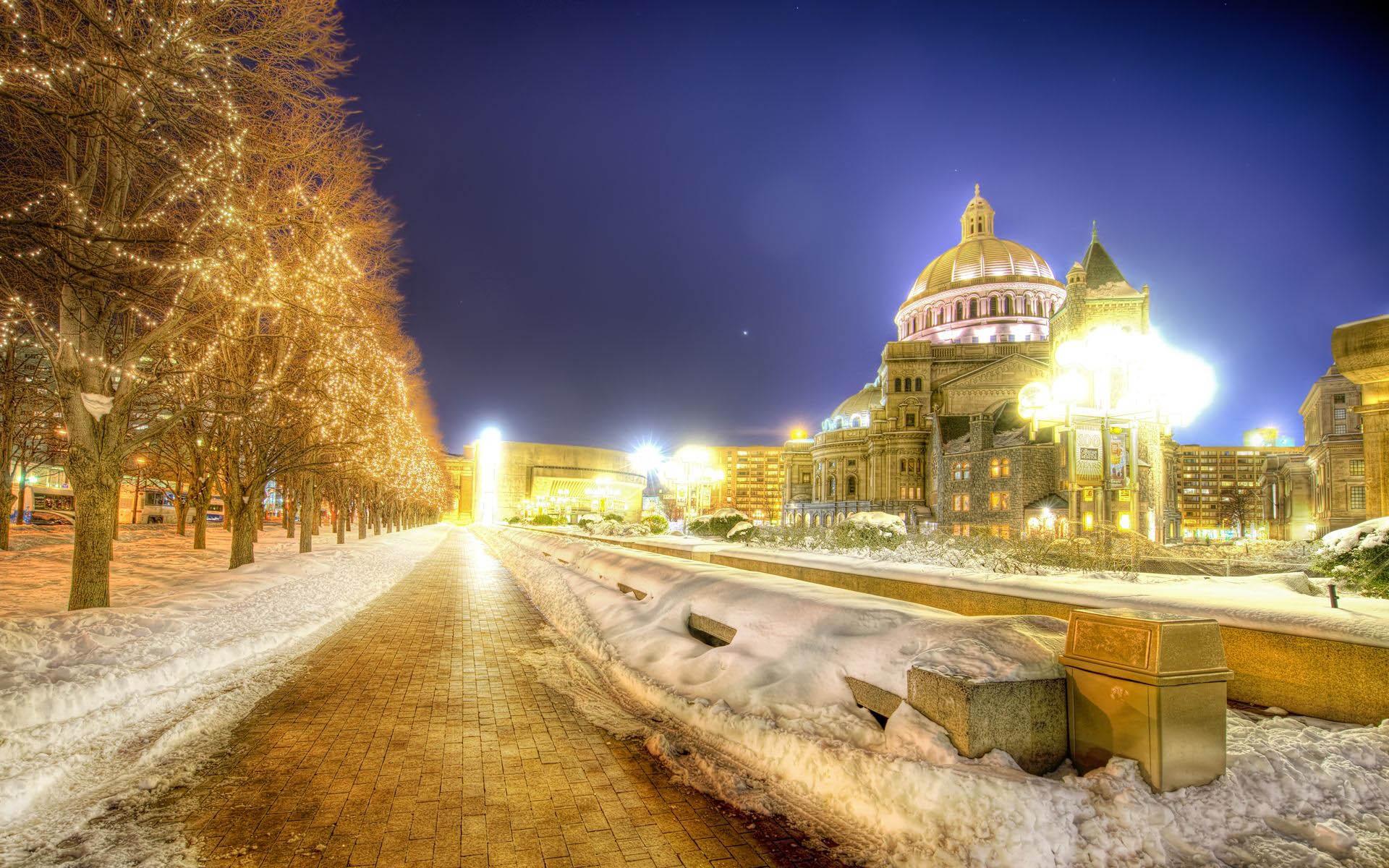 Картинка Улица в городе зимой Картинки Зима Бесплатные