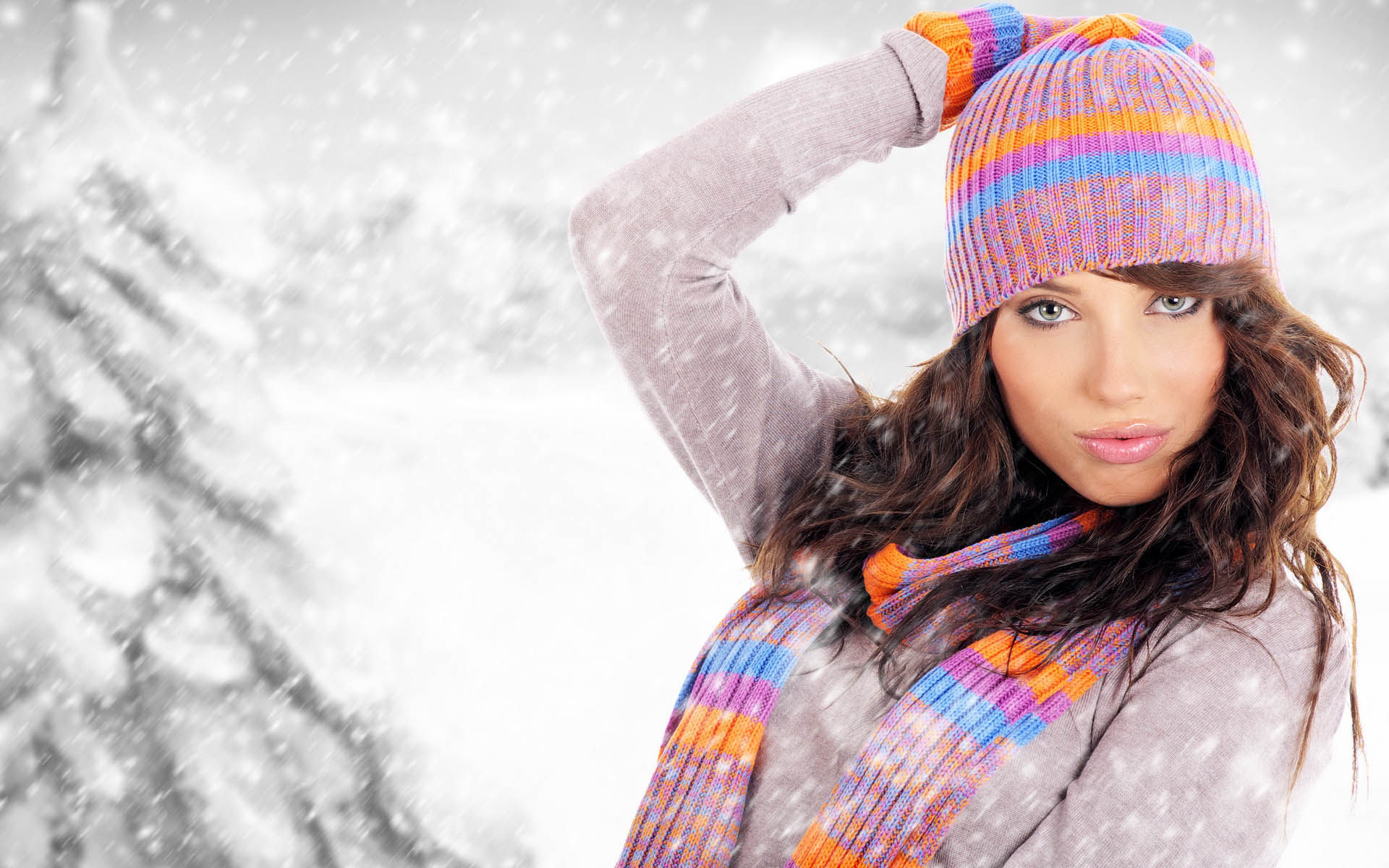 Картинки девушки зимой в снегу