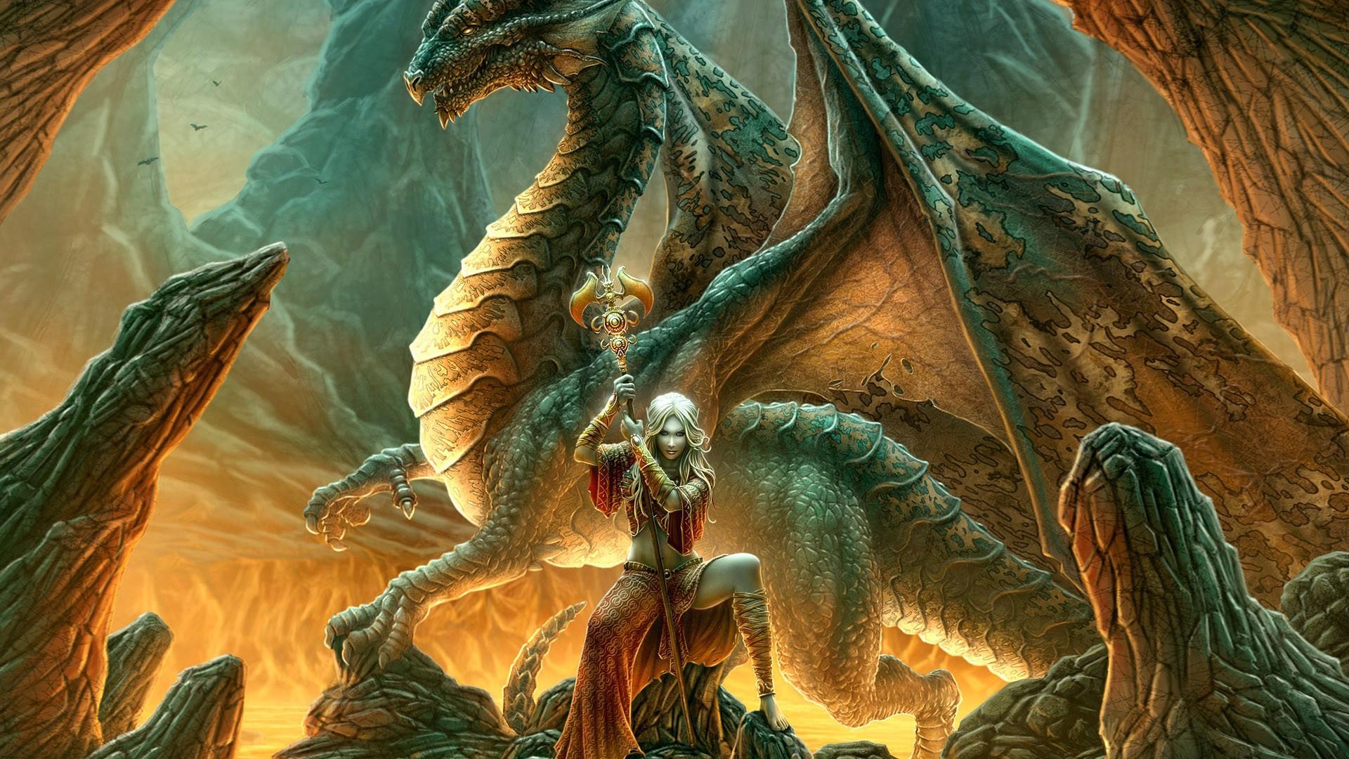 Фэнтези драконы и девушка