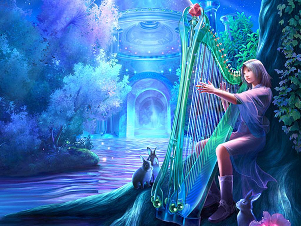 Картины девушка с арфой